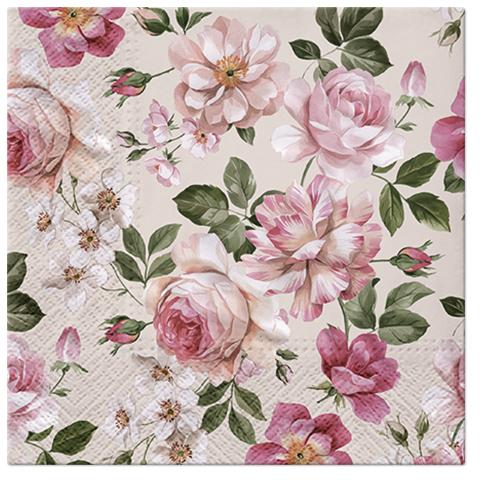 Serwetki Tissue 3-warstwowe, 33 x 33, Decor ROSES GLORY kremowa, składane na 1/4, 240 szt. w op.