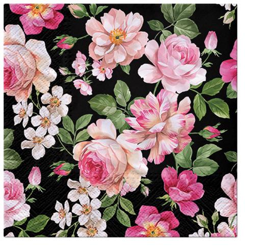 Serwetki Tissue 3-warstwowe, 33 x 33, Decor ROSES GLORY czarne, składane na 1/4, 240 szt. w op.