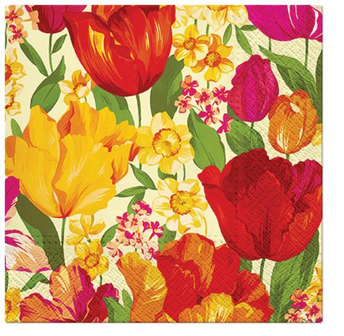 Serwetki Tissue 3-warstwowe, 33 x 33, Decor FLOWERING SPRING, składane na 1/4, 240 szt. w op.