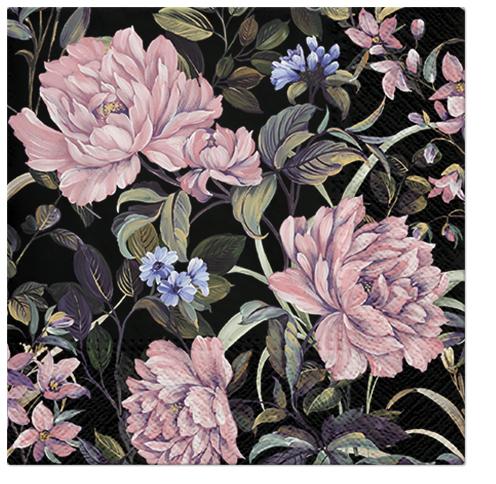 Serwetki Tissue 3-warstwowe, 33 x 33, Decor FLOWERS MYSTERY, składane na 1/4, 240 szt. w op.