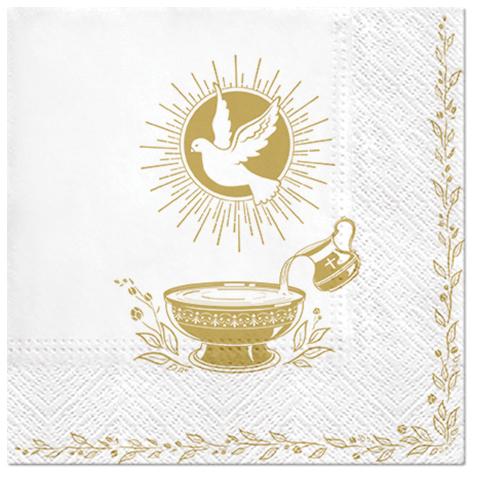 Serwetki Tissue 3-warstwowe, 33 x 33, Decor BAPTISM BLESSING, składane na 1/4, 240 szt. w op.
