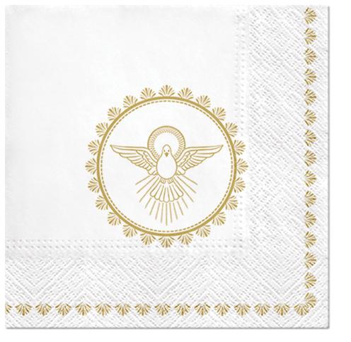 Serwetki Tissue 3-warstwowe, 33 x 33, Decor CHRISTENING DOVE, składane na 1/4, 240 szt. w op.