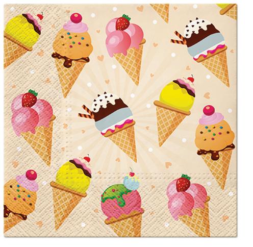 Serwetki Tissue 3-warstwowe, 33 x 33, Decor ICE CREAM, składane na 1/4, 240 szt. w op.