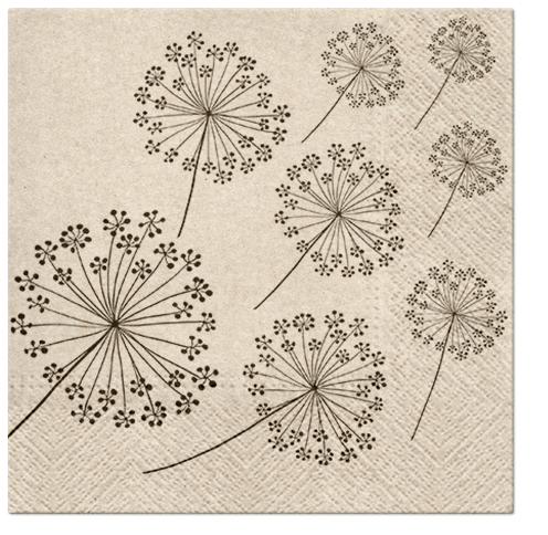 Serwetki Tissue 3-warstwowe, 33 x 33, WE CARE  DANDELIONS, składane na 1/4, 240 szt. w op.