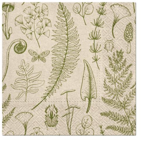 Serwetki Tissue 3-warstwowe, 33 x 33, WE CARE FOREST NATURE, składane na 1/4, 240 szt. w op.