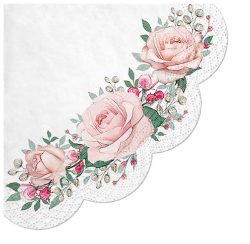 Serwetki Tissue 3-warstwowe, okrągłe, średnica 32 cm, Decor GORGEOUS ROSES, składane na 1/4, 240 szt. w op.